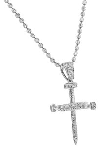 Master Of Bling Sterling Silver Nail Cross Pendant Designer Simulated Diamonds 925