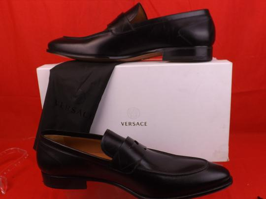 Versace Black Mens Leather Dress Logo Classic Loafers 45 12 Shoes Image 1
