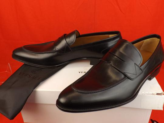 Versace Black Mens Leather Dress Logo Classic Loafers 45 12 Shoes Image 3