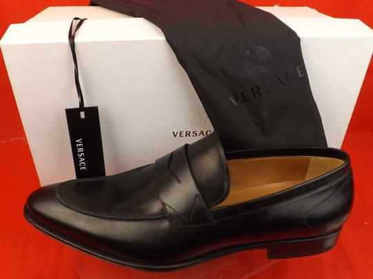 Versace Black Mens Leather Dress Logo Classic Loafers 45 12 Shoes Image 4