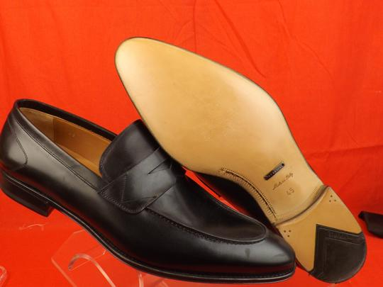 Versace Black Mens Leather Dress Logo Classic Loafers 45 12 Shoes Image 5