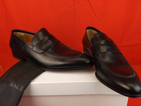 Versace Black Mens Leather Dress Logo Classic Loafers 45 12 Shoes Image 6