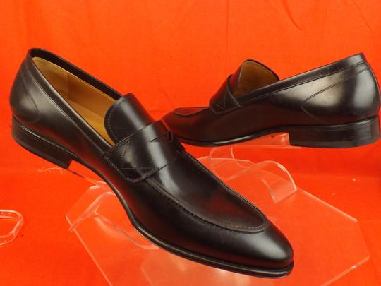 Versace Black Mens Leather Dress Logo Classic Loafers 45 12 Shoes Image 7