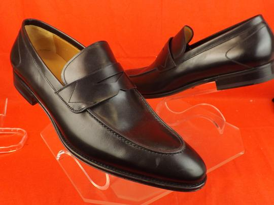 Versace Black Mens Leather Dress Logo Classic Loafers 45 12 Shoes Image 8