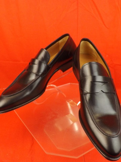 Versace Black Mens Leather Dress Logo Classic Loafers 45 12 Shoes Image 9
