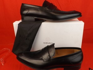 Versace Black Mens Leather Dress Logo Classic Loafers 45 12 Shoes