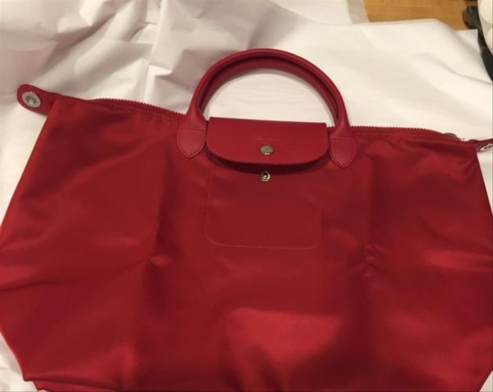 b52b9b64aaac Longchamp Le Pliage Neo 379 Ruby Red Satin Nylon Canvas Tote - Tradesy