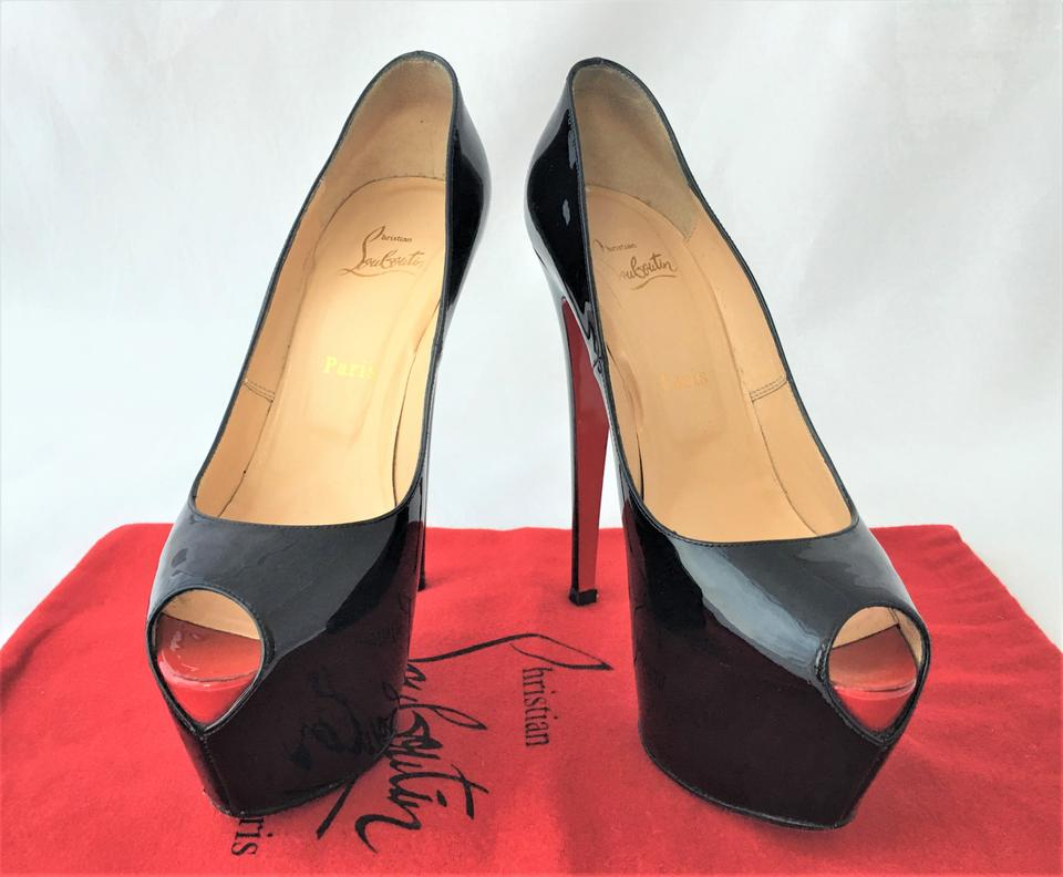 1b865e91559 Christian Louboutin Black Highness 39it Patent Leather Platform 160 High  Heel Red Sole Peep Toe Pumps Size EU 39 (Approx. US 9) Regular (M, B)
