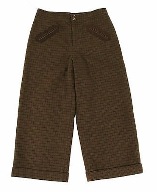 Ralph Lauren Label Cashmere Leather Cropped Capri/Cropped Pants Olive