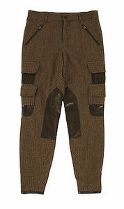 Ralph Lauren Black Label Wool Leather Cargo Riding Cargo Pants Brown