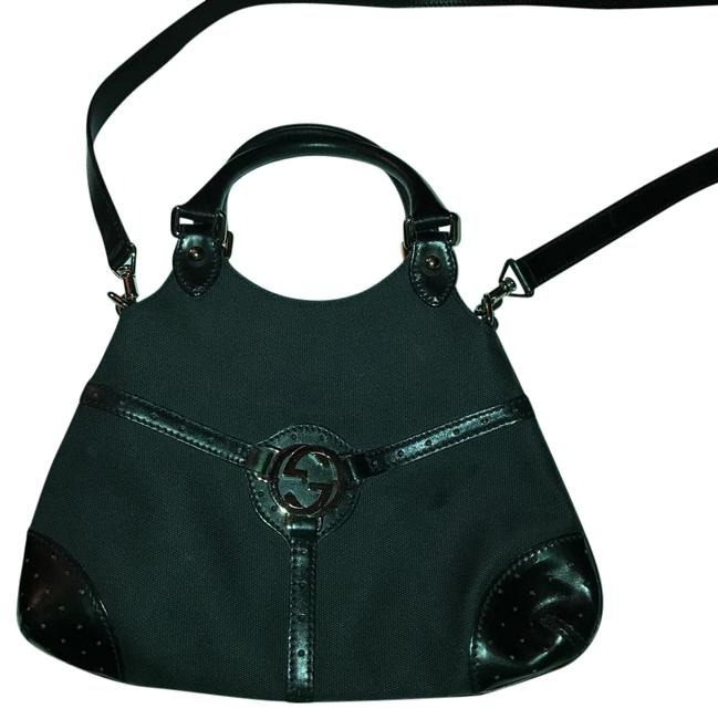 Item - Tote All Black / Silver Hardware Canvas/ Leather Satchel