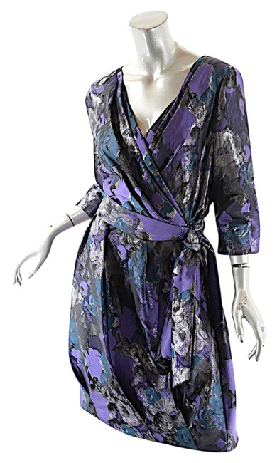 Item - Purple Teal Blue Collection Purple/Teal/Bronze Polyester Brocade Short Cocktail Dress Size 10 (M)