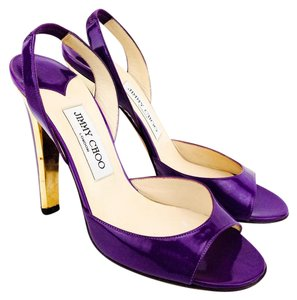 Jimmy Choo Patent Leather Kennedy Open Toe Slingback Purple Sandals