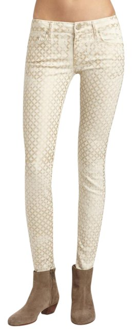 Item - Gold and White Coated The Looker Creme De Love Skinny Jeans Size 27 (4, S)
