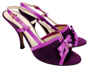 Saint Laurent Bow Slingback Open Toe Heels Satin Purple Sandals