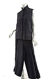 Ray Harris RAY HARRIS London Black Polyester Vest+Pant Ensemble w/Trims - WONDERFUL - O/S