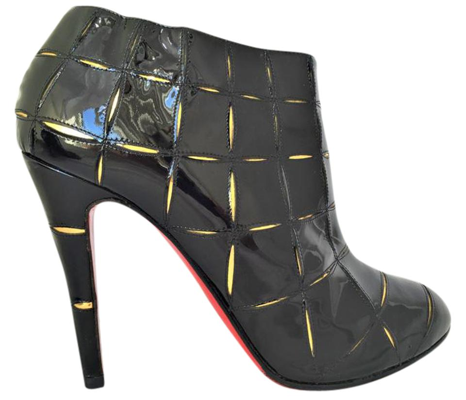 950b77bcc5a Christian Louboutin Black Gold 40.5it Patent Leather High Heel Lady Red  Sole Toe Zip Ankle Boots Booties