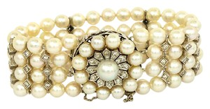 None Estate Vintage 1.25ctw Diamond 14k Gold 6mm 4 Strand Pearl Bracelet
