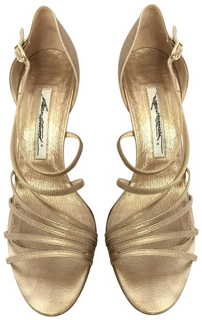 Brian Atwood Gold / Platinum Strappy Pumps Size US 8 Regular (M, B) Brian Atwood Gold / Platinum Strappy Pumps Size US 8 Regular (M, B) Image 1