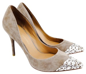 Badgley Mischka Suede Foil Silver Pointy Toe Stiletto Taupe Pumps