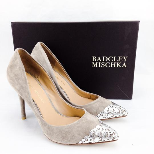 Badgley Mischka Suede Foil Silver Pointy Toe Stiletto Taupe Pumps Image 1