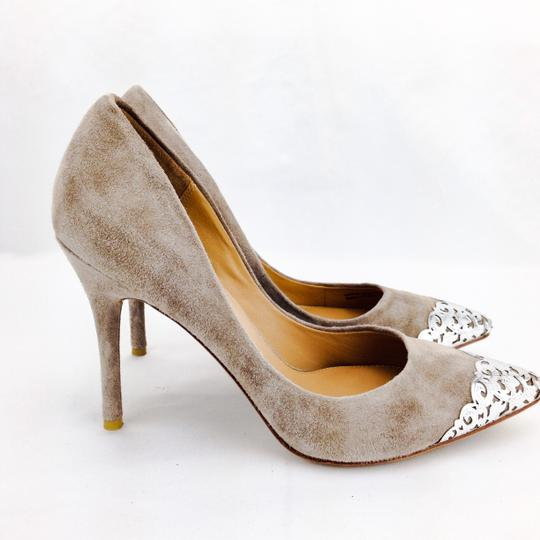 Badgley Mischka Suede Foil Silver Pointy Toe Stiletto Taupe Pumps Image 2
