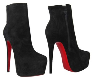 Christian Louboutin Pigalle Strass Spikes Studs Thigh High Ankle Black Boots
