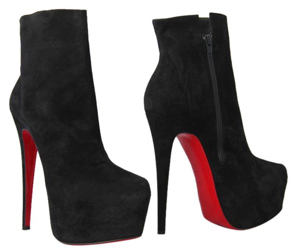 newest 30447 161bd Christian Louboutin Black New 40it Daffodile Suede Platform Ankle High Heel  Lady Red Sole Zip Boots/Booties Size EU 40 (Approx. US 10) Regular (M, B)
