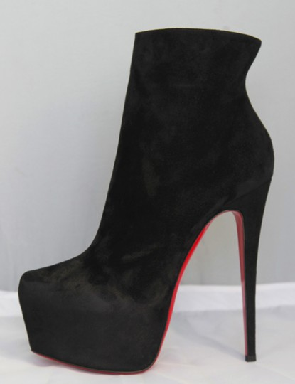 Christian Louboutin Pigalle Strass Spikes Studs Thigh High Ankle Black Boots Image 2