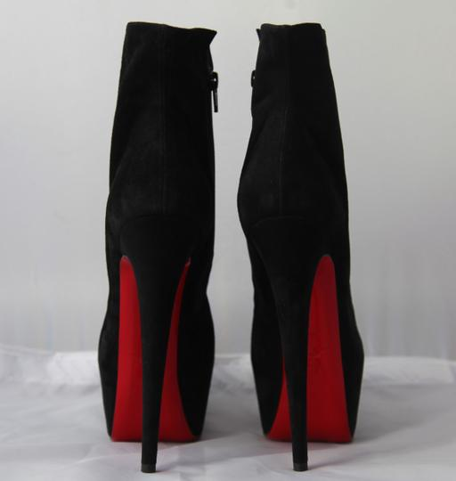 Christian Louboutin Pigalle Strass Spikes Studs Thigh High Ankle Black Boots Image 4