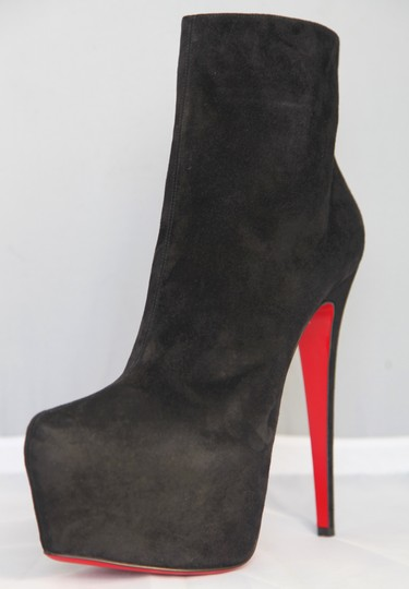 Christian Louboutin Pigalle Strass Spikes Studs Thigh High Ankle Black Boots Image 5