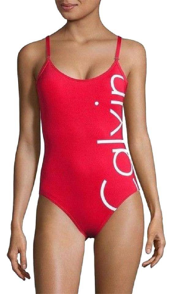 543cc6f1a5 Calvin Klein Red White Logo Swimsuit One-piece Bathing Suit Size 10 ...