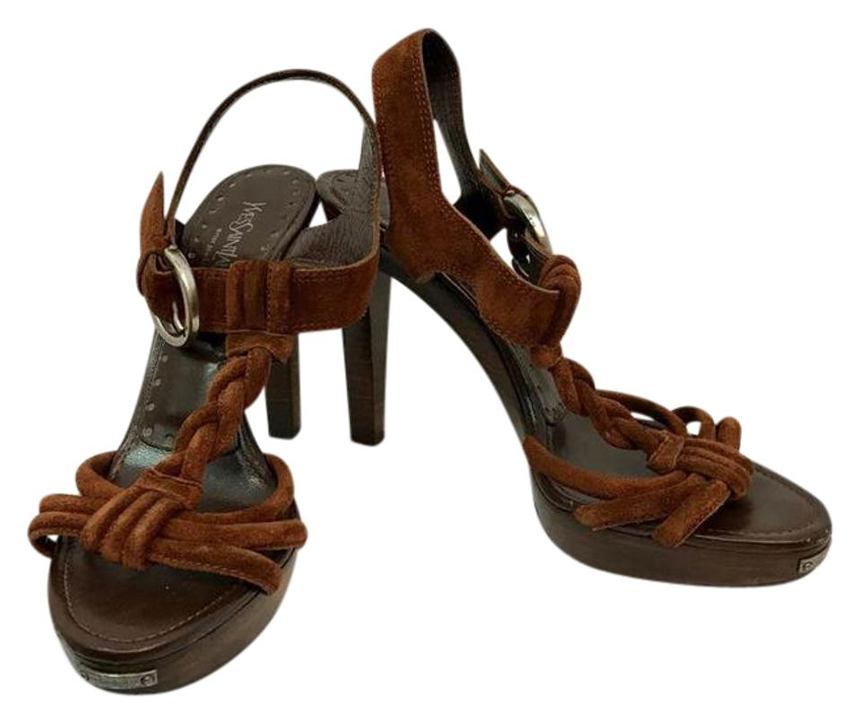 546c49d6d4c Saint Laurent Brown Yves Suede Leather Wooden Heels 39 Sandals Size ...