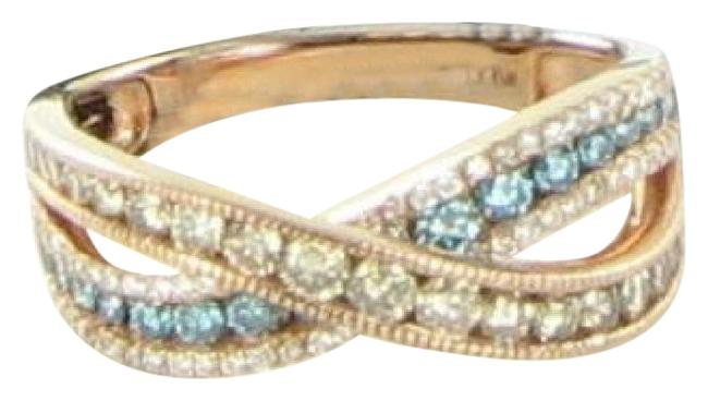 Item - Iced Blueberry (Bl Topaz) Chocolate & Vanilla Diamond Yellow Gold Bypass 14k Ring