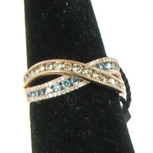 Le Vian Iced Blueberry (Bl Topaz) Chocolate & Vanilla Diamond Bypass Ring 14K Image 3