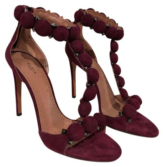 Preload https://img-static.tradesy.com/item/21645342/alaia-burgundy-bombe-110mm-red-cassis-suede-studded-ankle-t-strap-heel-395-pumps-size-us-95-regular-0-1-540-540.jpg