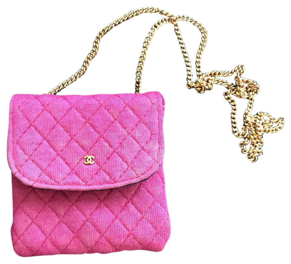 957e5d2765ee7 Chanel Classic Flap W Code Cc Logo Mini Micro Quilted Woc Chain Necklace  Red Cotton Wristlet