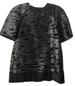 Alexander Wang Cocoon-back Foil Print Top Black/Silver