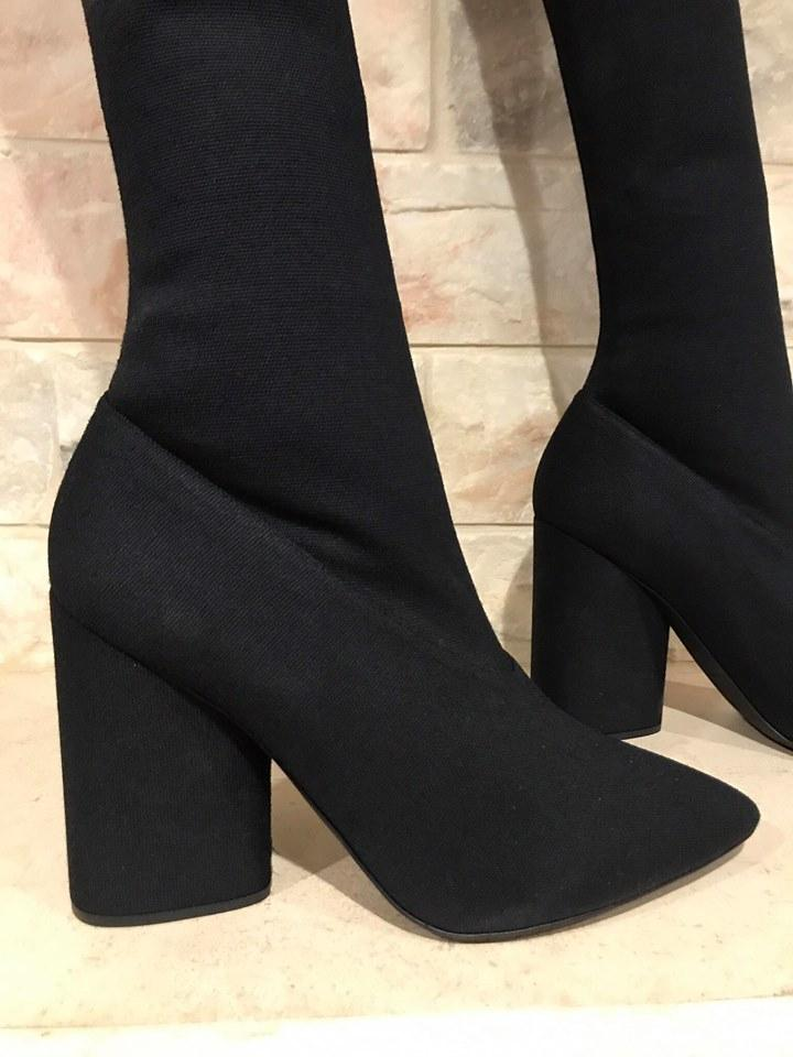 3989500b3ae63 YEEZY Black Season 4 Bat Stretch Canvas Over Knee Thigh High 41 Boots Booties  Size US 11 Regular (M
