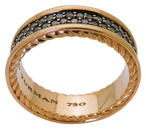David Yurman David Yurman 18K Rose Gold Streamline Two-Row Cognac Diamond Band Ring
