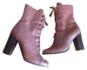 Miu Miu Ankle Granny Brown Leather Boots