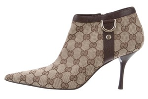 Gucci Pointed Toe Gg Monogram Gold Hardware Beige, Brown Boots