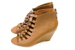 Anthropologie Zipper Wedge Brown / Tan Leather Boots