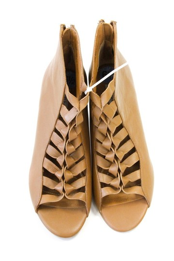 Anthropologie Zipper Wedge Brown / Tan Leather Boots Image 1