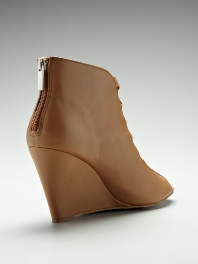 Anthropologie Zipper Wedge Brown / Tan Leather Boots Image 4