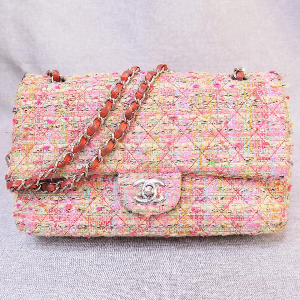 72a4a974a90b Chanel Classic Flap Classic Medium Double Colourful Tweed Shoulder ...