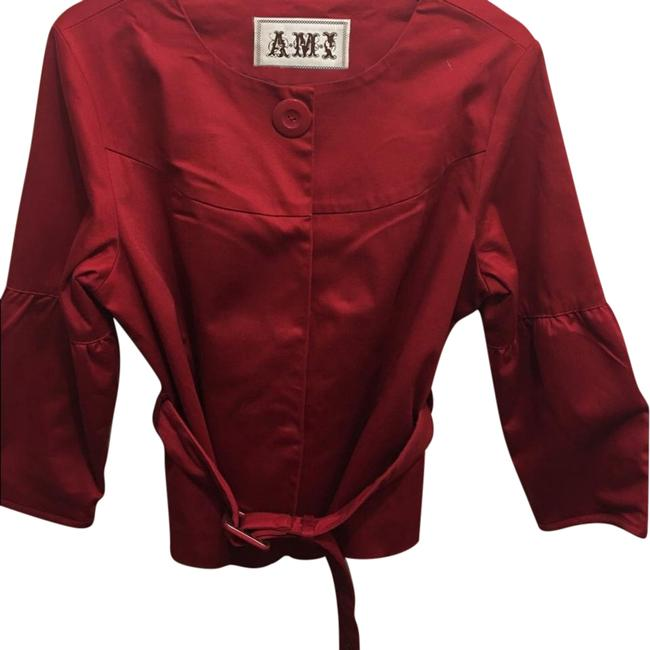 Item - Red Ladies Short Jacket with Matching Belt Button-down Top Size Petite 12 (L)