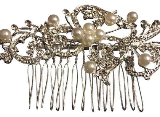 Queen Esther Etc New Flower Crystal & Pearl Bridal Hair Comb Image 1