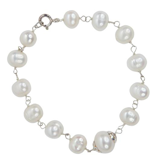 Condemned to Be Free Sterling Silver Genuine White Pearl Bracelet Image 1
