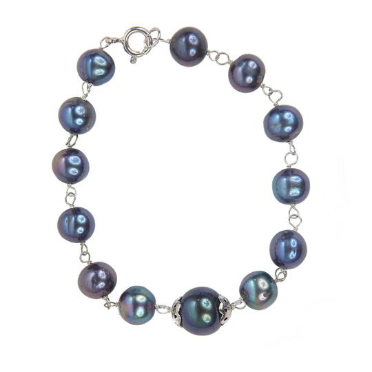 Condemned to Be Free Sterling Silver Genuine Black Pearl Bracelet Image 1
